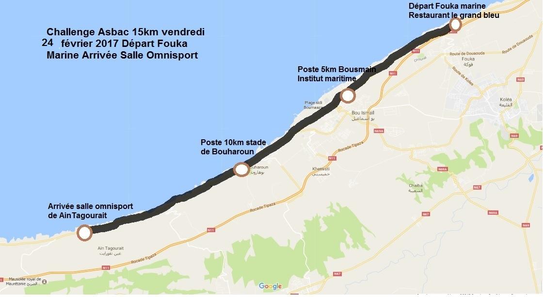 parcours challenge 15km 2017